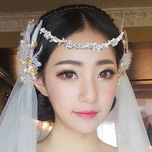 Bridal Rhinestone Headband Wedding Womens Crystal Flower & Leaves Crown Tiara Headdress