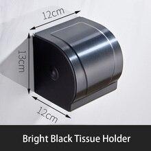 Bright black tissue holder bathroom toilet tissue holder free of holes paper holder paper towel holder