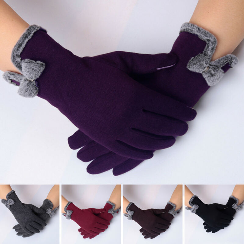 New Fashion Women Ladies Winter Warm Thick Soft Cashmere Touch Solid Screen Fleece Gloves