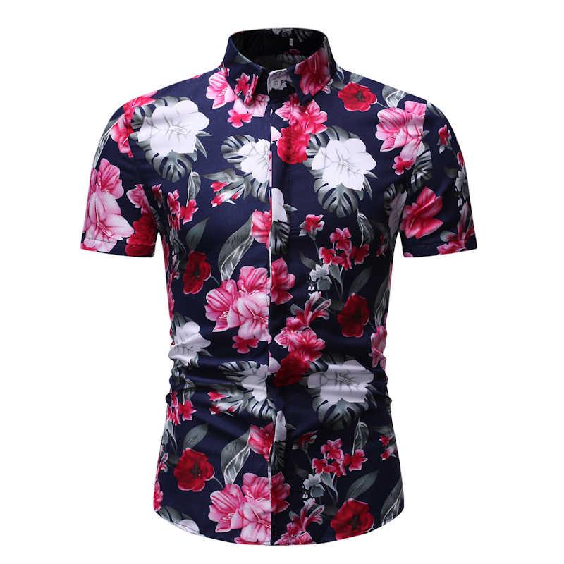 ผู้ชายเสื้อฮาวาย Mens Floral Beach เสื้อฤดูร้อนแขนสั้นห้องพักช่วงวันหยุดเสื้อผ้าสบายๆเสื้อฮาวายผู้ชาย Camisa Masculina XXXL