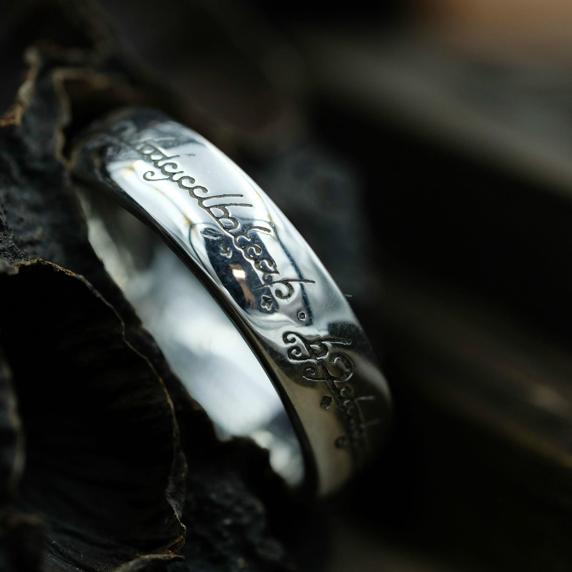 Letter Magic Rings Tibetan Silver Lovers Rings S925 Antiallergic Vintage Lovers Rings 925 Sterling Silver Rings for Lovers