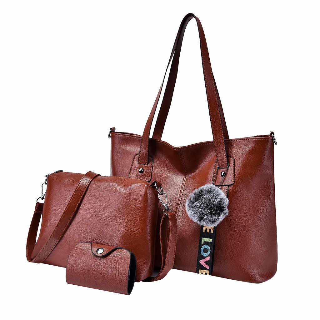 3 adet kadın kompozit omuzdan askili çanta çanta büyük kapasiteli PU deri seyahat için dayanıklı Bolsas çanta omuzdan askili çanta kesesi ana femme