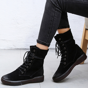 PEIPAH Handmade 2020 Winter Snow Boots Women Genuine Leather Shoes Woman Rubber Ankle Boots Female