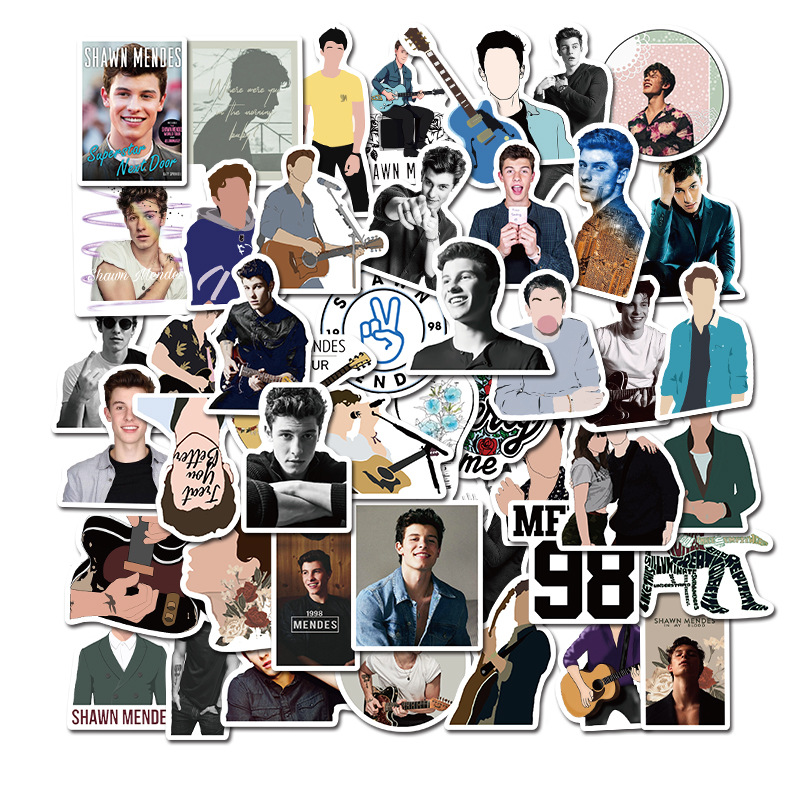 50PCS Fashion Homesome Singer Shawn Mendes Stickers Skateboard Suitcase Snowboard Guitar Motorcycle Laptop Decal Sticker Toy F4
