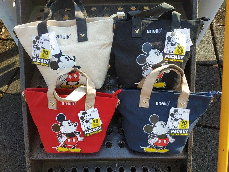 Disney Small Backpack Mickey Mouse Canvas Printing Portable Diagonal Handbags Ladies Single Shoulder Small Square Bag