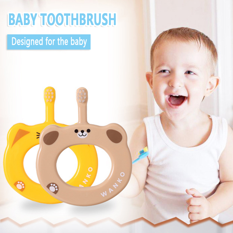 Baby Toothbrush Small Anti-card Throat Soft Hair Toothbrush Hand Ring Training Grip Toothbrush Children Chewing