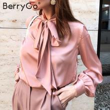 BerryGo Office ladies tie-neck women blouse shirt Summer spr