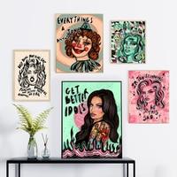 Carteles feministas de dibujos animados de estilo nórdico, cuadro sobre lienzo para pared, impresiones de citas, imágenes para dormitorio, sala de estar, decoración del hogar