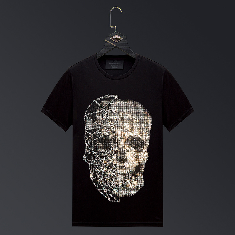 Plus Size 2020 Fashion Skull Rhinestones T Shirts Men Brand Short Sleeve Man Streetwear O Neck Slim Tshirts <font><b>Camiseta</b></font> <font><b>Hombre</b></font> <font><b>6XL</b></font> image