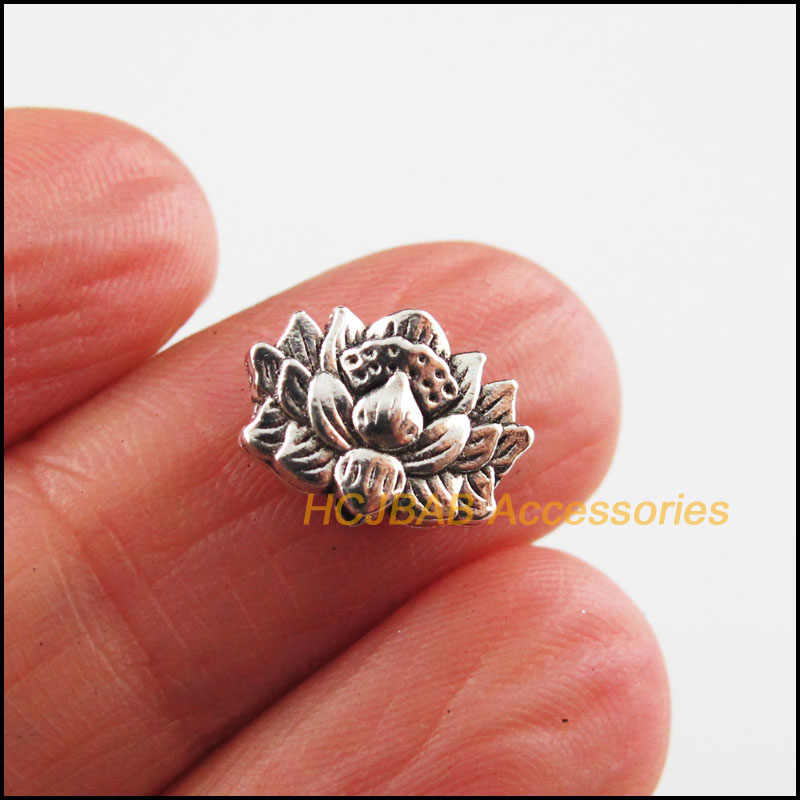 Fashion 25 Buah Perak Tibet Warna Lotus Bunga Charms Spacer Beads 8.5x12mm