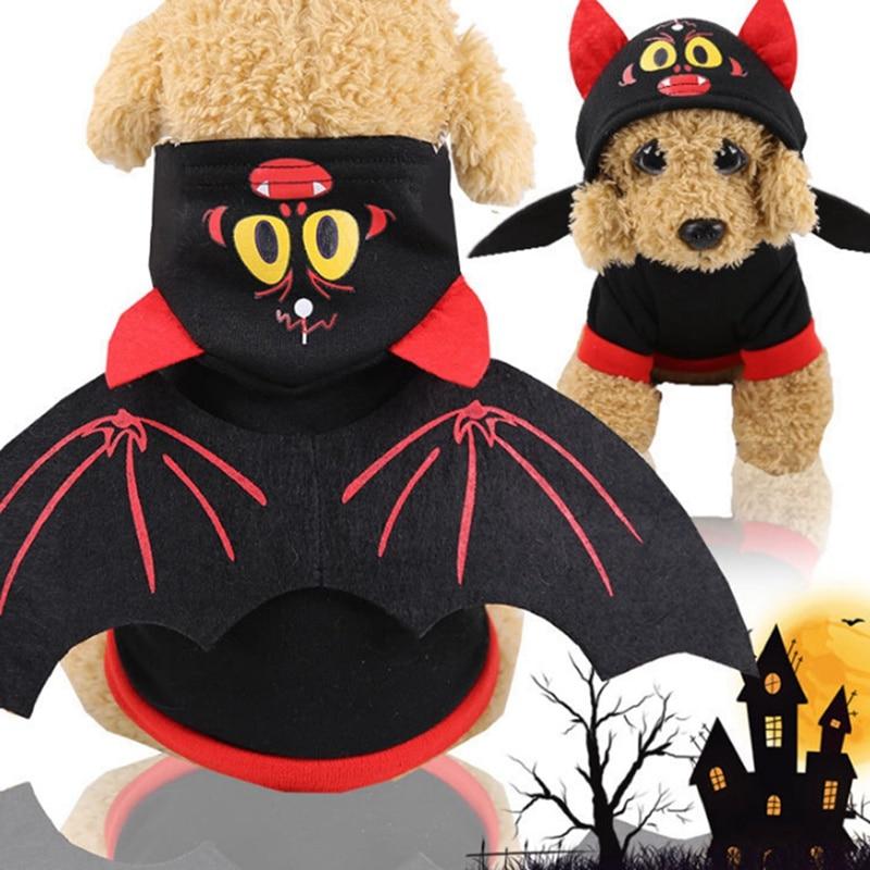 Домашние собаки кошки Хэллоуин Косплей Теплый костюм щенок Забавный летучая мышь шаблон с капюшоном одежда с крыльями костюм для животного