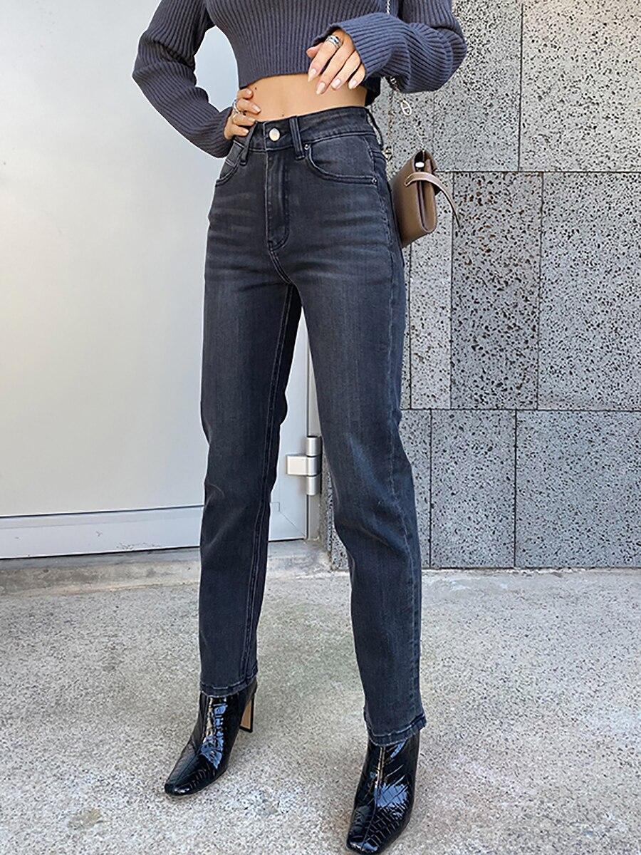 Straight Jeans For Women Loose High Waist Leisure Full Black Retro Fashion washed Denim Long Pants Streetwear Buttons Zipper