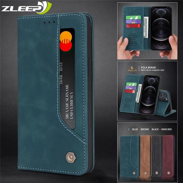 Étui à rabat en cuir mat pour iPhone, portefeuille magnétique avec support de carte, pour modèles 12 Mini 11 Pro XR X XS Max 8 7 6 6s Plus SE 2020