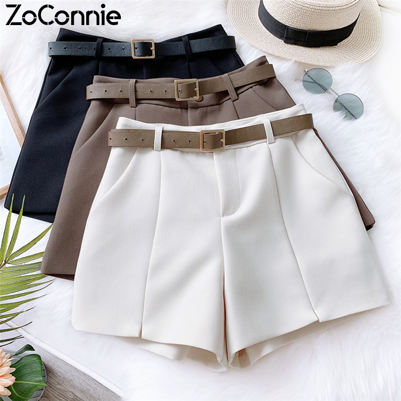 High Waist With Belt A-line Shorts Women Casual Spring Summer Short Pants With Pockets Female Beige Black Wide Leg Shorts
