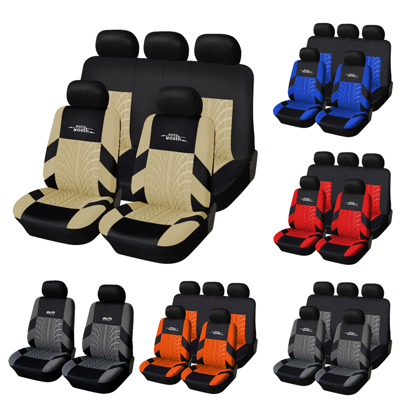 Car-Seat-Covers-Set AUTOYOUTH Universal Polyester-Fabric 9pcs