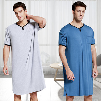 Men Casual Loose Short Sleeve Bathrobe Summer Solid Color Cotton Robe Sleepwear Plus Size 3XL Nightgown Male Casual Home Wear