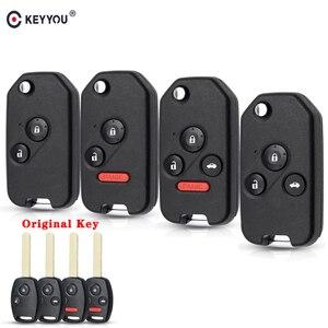 KEYYOU Modified Flip Remote Car Key Shell For for Honda Fit Civic CRV Jazz HRV Accord Pilot Insight 2/3/4 Button Foliding Key(China)