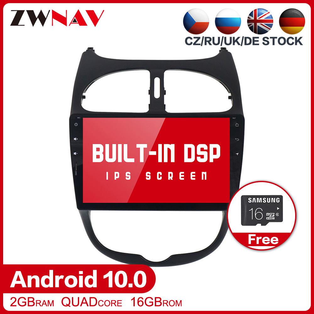 DSP Android 10.0 Car multimedia player GPS For <font><b>Peugeot</b></font> <font><b>206</b></font> 2000-2016 Auto Radio stereo Audio Video GPS Navi Head unit free map image