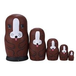 5 Слои деревянная матрешка русская кукла милое Цвет роспись щенка для маленьких детей игрушки Muñecas русские anidadas