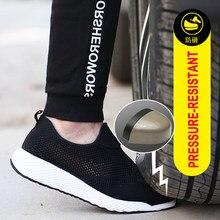 NMSafety chaussures de sécurité unisexes à bout en acier, baskets de travail respirantes à maille, de haute qualité