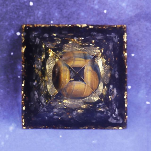 Orgonite Pyramid Chakras Tiger Eye Orgon Energy Crystals Obsidian Original Home Office Decor Resin Reiki Gift Decoration 5