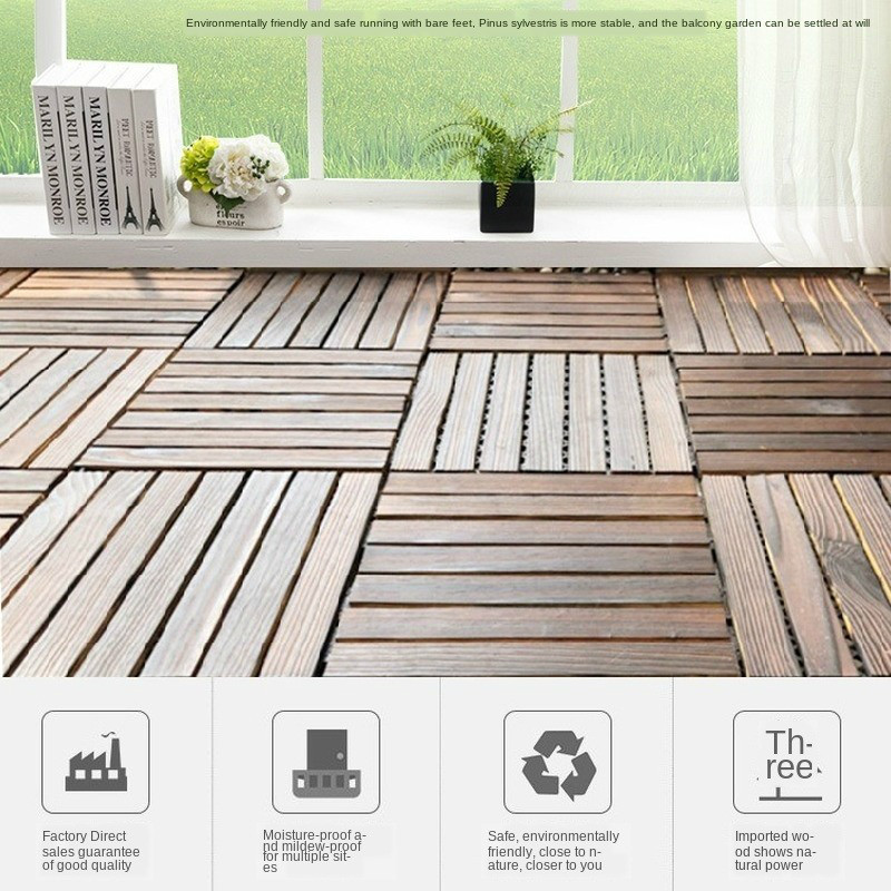 290x290x20mm ONE PIECE Solid Wood Floor Balcony Garden Outdoor Courtyard Terrace Mosaic Carbonized Anti-Corrosion Floor