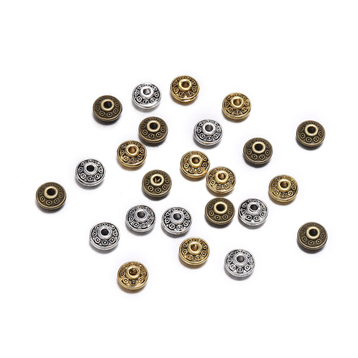 Tibetan Flower Spacer Beads 8mm Antique Bronze 50 Pcs Art Hobby DIY Jewellery