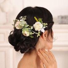 Romantic Light yellow Wedding Hair Pins Leaf Bridal hair clip Flower Hair Accessories