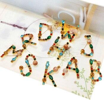 CINDY XIANG-broche de diamantes de imitación con letras del alfabeto, joyería de...