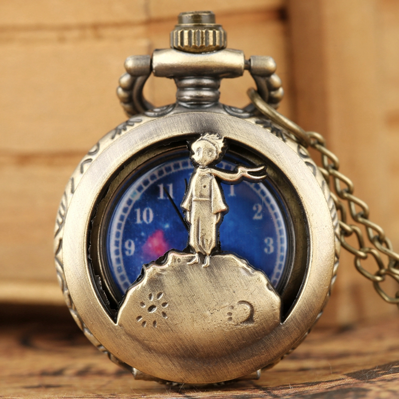 Little Cute Small Dial Bronze Blue The Little Prince Movie Planet Quartz Pocket Necklace Pendant Souvenir Gifts For Boys Kids
