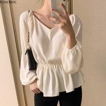 Hauts mignons Style coréen et japonais pour femmes, Blouse taille Slim, couleur unie, chemises blanches D1422