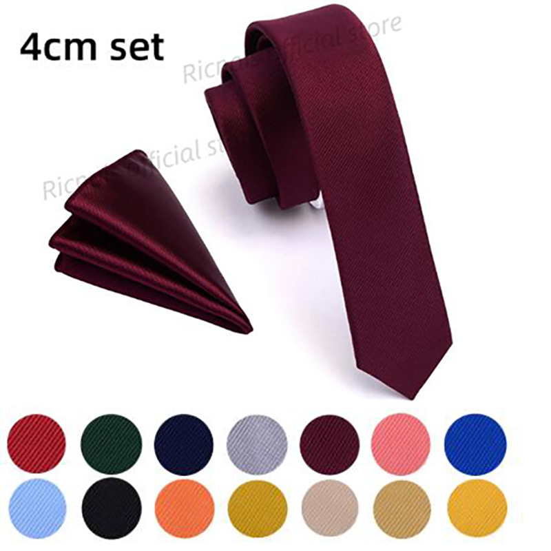 Ricnais Designer 4cm Slim Tie Solid Woven Red Yellow Plain Color Necktie Hanky Set Men's Party Wedding Narrow Skinny Neck Tie