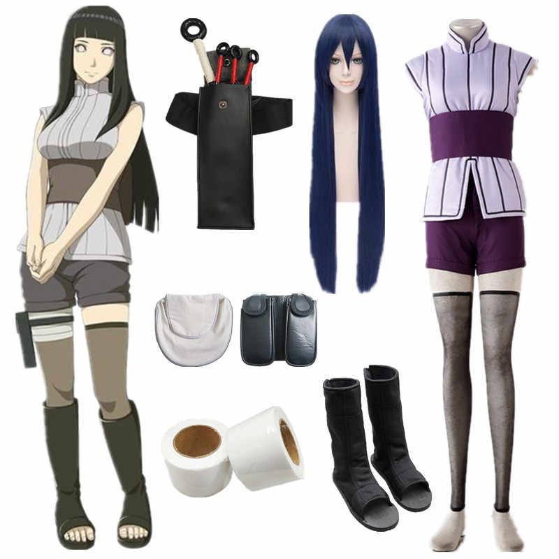 ที่กำหนดเอง Naruto Hinata Hyuga ฮาโลวีนชุดคอสเพลย์ภาพยนตร์ The Last Hinata ฮาโลวีนเครื่องแต่งกายวิกผมด้านบน + กางเกงขาสั้น + เข็มขัด + ถุงเท้า