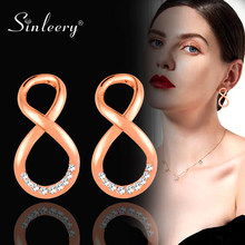 SINLEERY Trendy Rhinestone Infinity Stud Earrings Female Rose Gold Silver Color Fashion Women Party Jewelry Brincos Es367 SSK(China)