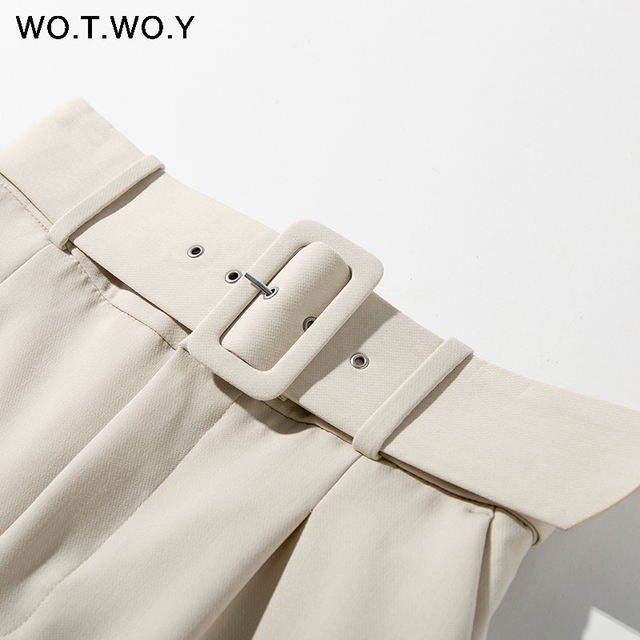 WOTWOY Elegant Formal High Waist Pants Women Skinny Office Lady Pencil Pants Women Pockets Sashes Ankle-Length Trousers Women 4
