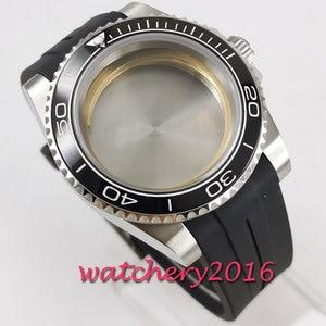 Image 2 - 40mm sapphire glass black ceramic bezel Watch Case set fit 2836 miyota 8215 MOVEMENT