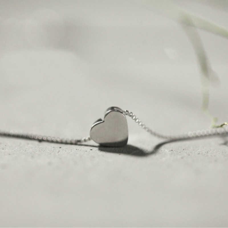 Prosty styl srebrny serce naszyjniki pole 925 choker łańcuszek naszyjnik dla kobiet dziewczyn Student dzieci modna biżuteria na prezent