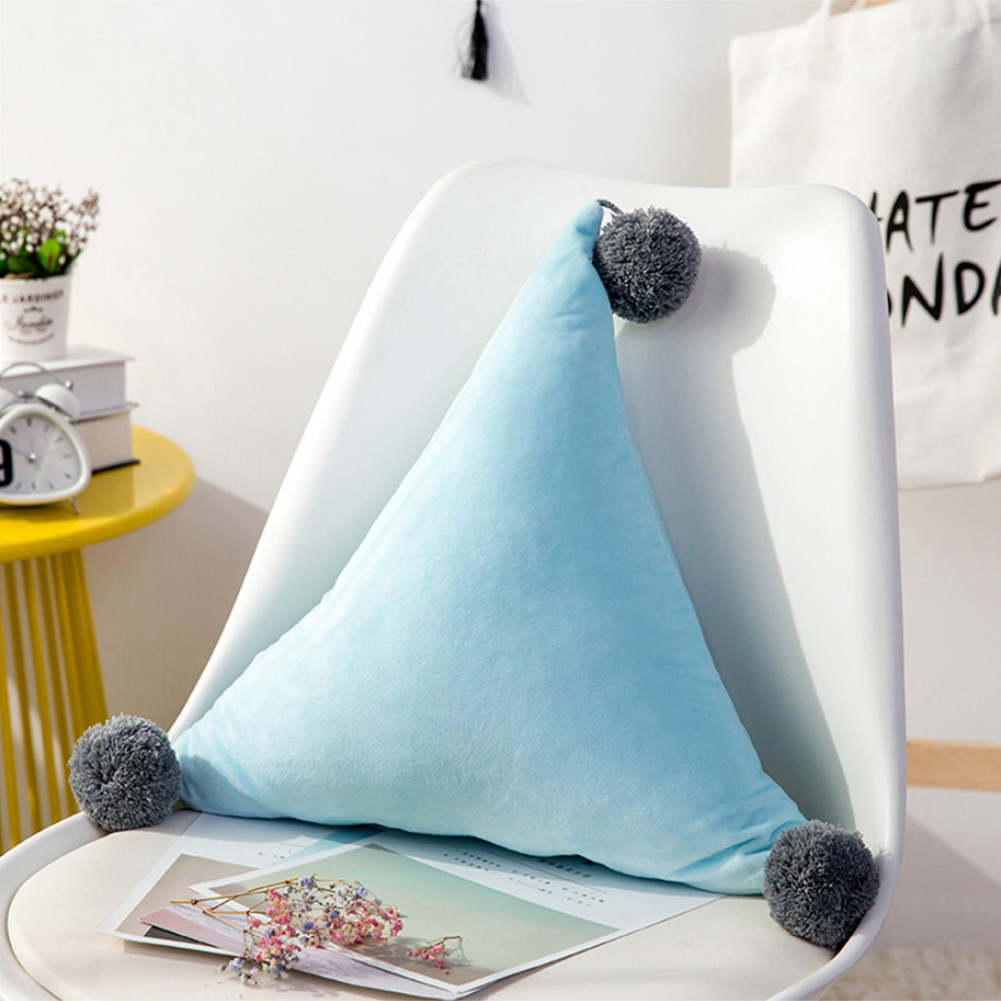 Triangular Cushion Pompom Ball Nordic Super Soft Cushion Sofa Living Room Cushion Decoration Birthday Gift HFing