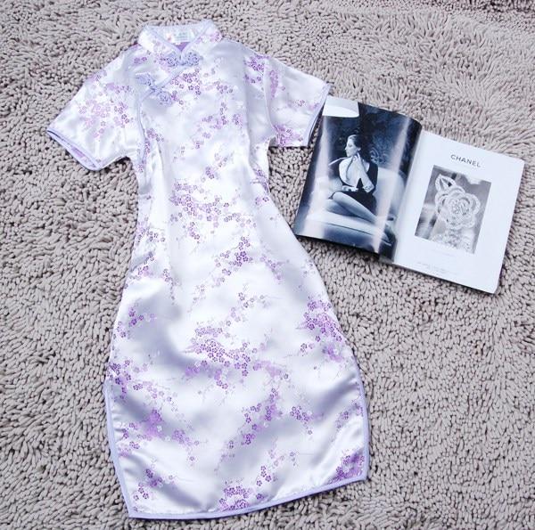 Summer New Short Sleeve Women Qipao Chinese Style Mandarin Collar Cheongsam Cheongsam Elegant Light Purple Vestidos PLUS 5XL 6XL