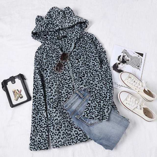 Celmia Winter Warm Coats Women Leopard Print Jackets Hoodies Casual Loose Long Sleeve Zip Hooded Teddy Coats Plus Size Outerwear