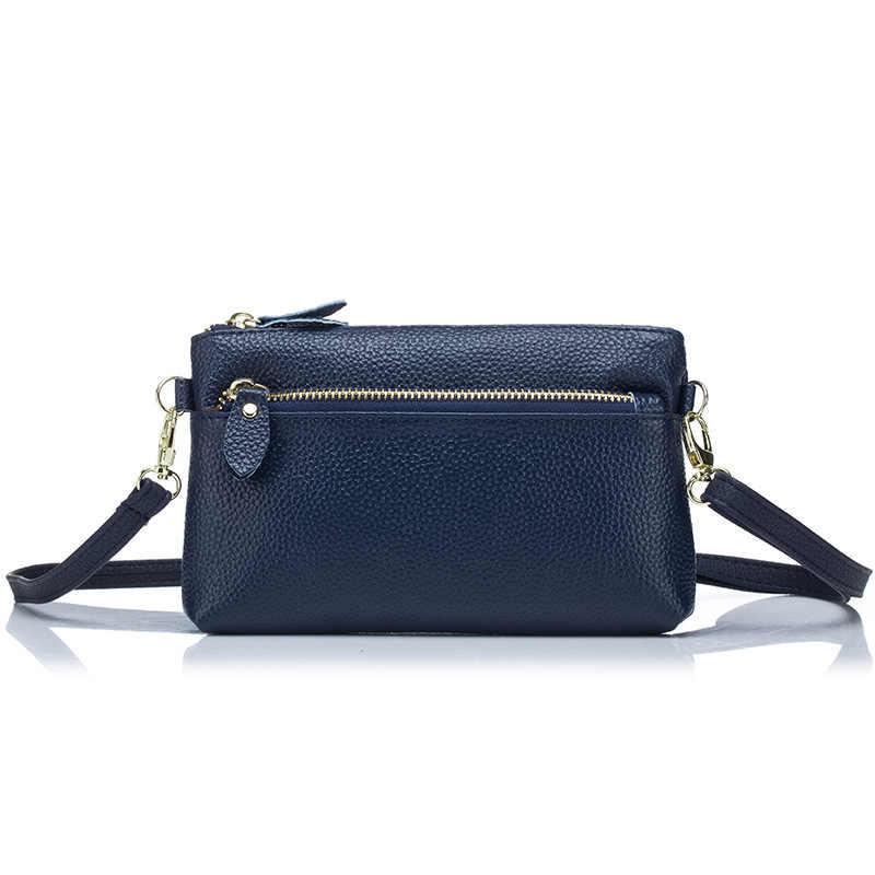 YUFANG bolso de mensajero de mujer bolso de muñeca de cuero genuino bolsa de teléfono de gran capacidad para mujer bolso de mano de ocio para mujer