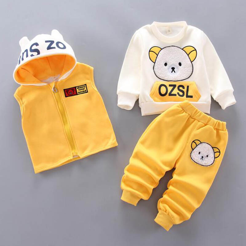 Baby Boys And Girls Clothing Set Tricken Fleece Children Hooded Outerwear Tops Pants 3PCS Outfits Kids Toddler Warm Costume Suit 5