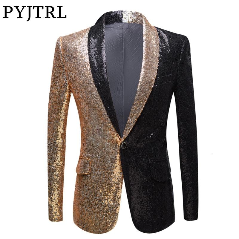 PYJTRL Full Sequins Series Men Gold Red Black Sequins Slim Fit Blazers Night Club Singers Sequin Suit Jacket Party Wear