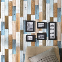 Peel And Stick Wallpaper 3D Wood Plank  Brown/White/Blue Vinyl Self Adhesive Contact  Wall papers Shower Room  Wall Home Decor