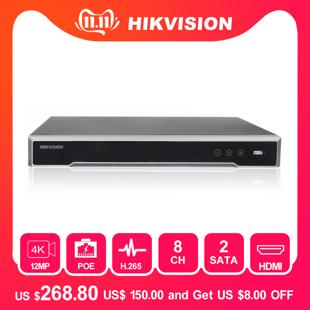 Hikvision 8ch CCTV Recorder PoE NVR DS-7608NI-I2/8P 8 Channel Embedded Plug&Play 4K Network Video Recorder With 8 PoE Port H.265