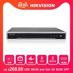 Hikvision 8ch cctv recorder poe nvr DS-7608NI-I2/8 p 8 canais incorporado plug & play 4 k gravador de vídeo em rede com 8 poe porto h.265