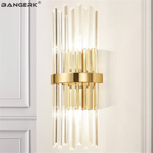 American Luxury Crystal Wall Lamp Modern Gold Bedroom Bedside Wall Light LED Sconce Home Decor Lighting Fixtures Luminaria|LED Indoor Wall Lamps| |  -