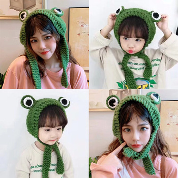 Frog Hat Beanies Knitted Winter Hat Solid Hip-hop Skullies Knitted Hat Cap Costume Accessory Gifts Warm Winter Lovely Christmas image