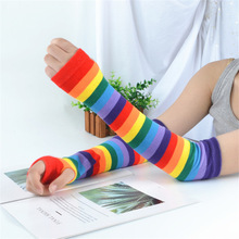 Cover Harajuku Warmer Arm-Sleeves Rainbow Striped Winter Women Autumn Cute Uv-Proof Candy-Color