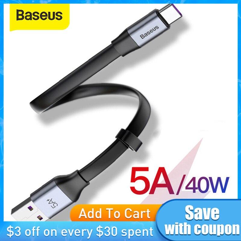Baseus 5A Aufzurüsten USB Typ C Kabel für Huawei P30 Mate 30 Pro Tragbare USB C Kabel Quick Charge 3,0 für Xiaomi 9 USB-C Draht